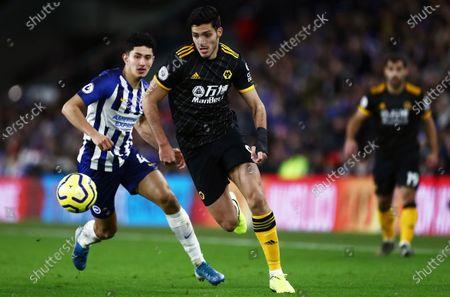 Raul Jimenez of Wolverhampton Wanderers and Steven Alzate of Brighton & Hove Albion
