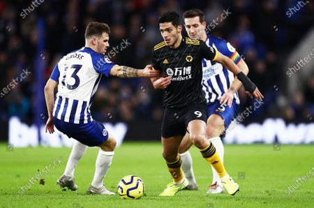 Raul Jimenez of Wolverhampton Wanderers and Pascal Gross of Brighton & Hove Albion.