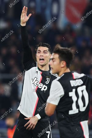Cristiano Ronaldo of Juventus (L) protests against referee during the Italian championship Serie A football match between SS Lazio and Juventus on at Stadio Olimpico in Rome, Italy - Photo Federico Proietti/ESPA-Images