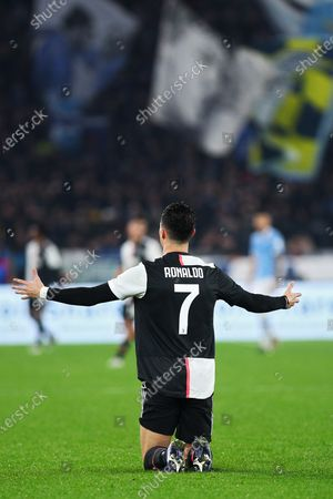 Cristiano Ronaldo of Juventus on the ground after a tackle during the Italian championship Serie A football match between SS Lazio and Juventus on at Stadio Olimpico in Rome, Italy - Photo Federico Proietti/ESPA-Images