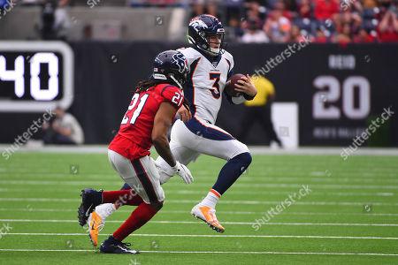 Drew Lock, Bradley Roby. Denver Broncos quarterback Drew Lock (3) runs pat Houston Texans cornerback Bradley Roby (21) during the second half of an NFL football game, in Houston