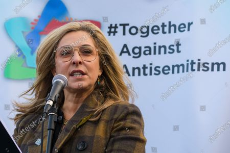 London, UK. Actress, Tracy-Ann Oberman speaking  to Jewish and non-Jewish supporters from the campaign groups 'Campaign Against Antisemitism' and 'Together Against Antisemitism' at a solidarity rally against antisemitism in public life and hate crime, held at Parliament Square in Westminster.