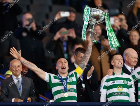 Celtic captain Scott Brown lifts the Betfred Cup after Celtic beat Rangers 1-0.