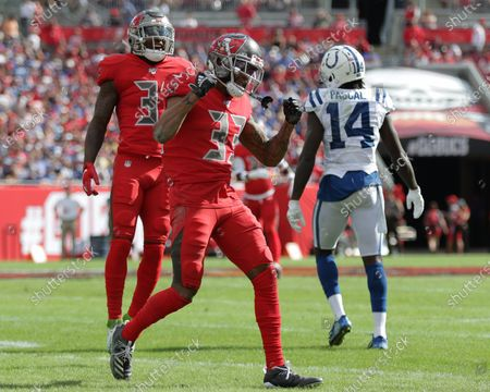 Tampa Bay Buccaneers cornerback Carlton Davis (33) reacts after breaking up a pass during the NFL game between the Indianapolis Colts and the Tampa Bay Buccaneers held at Raymond James Stadium in Tampa, Florida. Andrew J