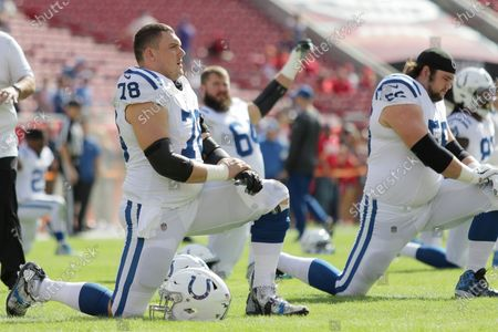 Indianapolis Colts center Ryan Kelly (78) stretches before the NFL game between the Indianapolis Colts and the Tampa Bay Buccaneers held at Raymond James Stadium in Tampa, Florida. Andrew J