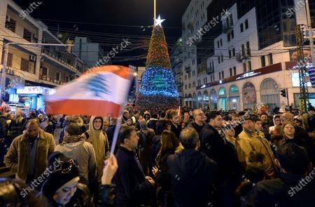 Christmas Tree Lighting Ceremony Tripoli Stock Photos