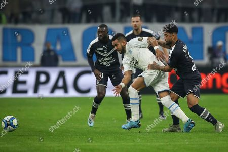 ONE. Marseille's Dimitri Payet battles for the ball with Bordeaux's Otavio during the French League One soccer match between Marseille and Bordeaux at the Velodrome stadium in Marseille, southern France