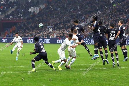 ONE. Marseille's Dimitri Payet shoots a free kick during the French League One soccer match between Marseille and Bordeaux at the Velodrome stadium in Marseille, southern France