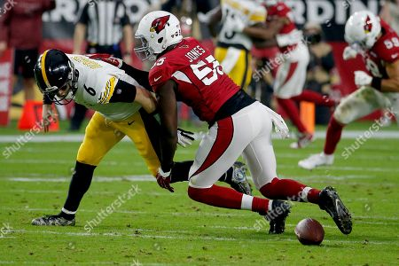 Arizona Cardinals linebacker Chandler Jones (55) forces Pittsburgh Steelers quarterback Devlin Hodges (6) to fumble during the first half of an NFL football game, in Glendale, Ariz. The Steelers recovered the ball