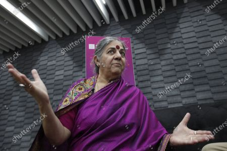 Stock Photo of Indian activist and ecologist Vandana Shiva during an interview with Efe in the 33rd edition of the Guadalajara International Book Fair, in Jalisco, Mexico, 08 December 2019.