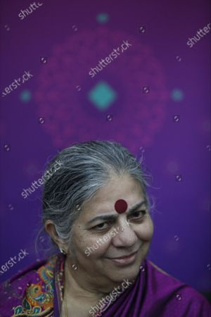 Stock Image of Indian activist and ecologist Vandana Shiva during an interview with Efe in the 33rd edition of the Guadalajara International Book Fair, in Jalisco, Mexico, 08 December 2019.
