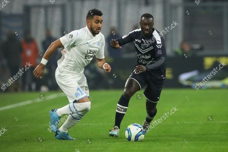 ONE. Marseille's Dimitri Payet and Bordeaux's Youssouf Sabaly battle for the ball during the French League One soccer match between Marseille and Bordeaux at the Velodrome stadium in Marseille, southern France