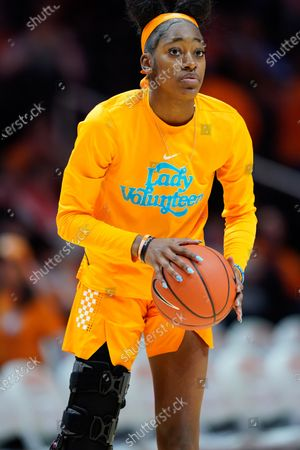 Zaay Green #14 of the Tennessee Lady Vols, who is recovering from a torn ACL, before the NCAA basketball game between the University of Tennessee Lady Volunteers and the University of Texas Longhorns at Thompson Boling Arena in Knoxville TN Tim Gangloff/CSM