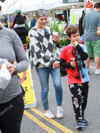 Stock Image of Selma Blair and Arthur Saint at Studio City Farmers Market