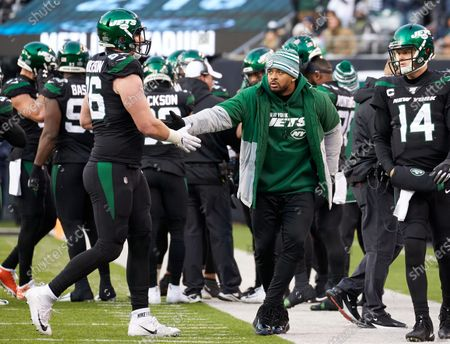 , 2019, East Rutherford, New Jersey, USA: New York Jets strong safety Jamal Adams (33) in plain clothes on the sideline cheering on teammates during a NFL game between the Miami Dolphins and the New York Jets at MetLife Stadium in East Rutherford, New Jersey. Jets defeated the Dolphins 22-21