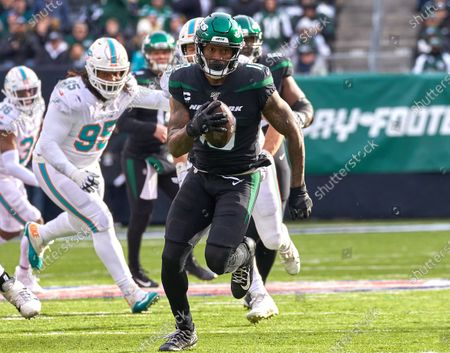 , 2019, East Rutherford, New Jersey, USA: New York Jets wide receiver Demaryius Thomas (18) runs after a catch during a NFL game between the Miami Dolphins and the New York Jets at MetLife Stadium in East Rutherford, New Jersey. Jets defeated the Dolphins 22-21