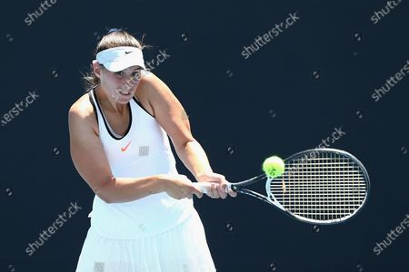 Stock Picture of Sara Tomic of Australia in action against Gabriella Da Silva-Fick of Australia and Olivia Tjandramulia of Australia during their doubles match of the Australian Open 2020 Play-off at Melbourne Park in Melbourne, Australia, 09 December 2019.