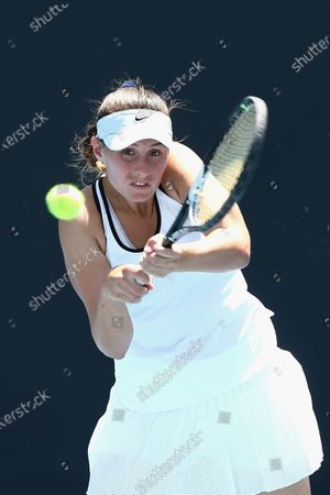 Sara Tomic of Australia in action against Gabriella Da Silva-Fick of Australia and Olivia Tjandramulia of Australia during their doubles match of the Australian Open 2020 Play-off at Melbourne Park in Melbourne, Australia, 09 December 2019.
