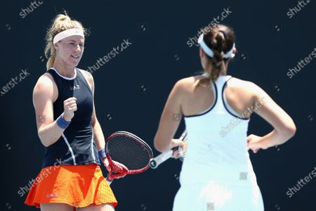 Alana Parnaby (L) of Australia and Sara Tomic (R) of Australia converse while in action against Gabriella Da Silva-Fick of Australia and Olivia Tjandramulia of Australia during their doubles match of the Australian Open 2020 Play-off at Melbourne Park in Melbourne, Australia, 09 December 2019.