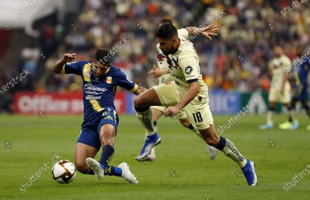 Bruno Valdez (R) of Club America in action against Edison Flores (L) of Monarcas during the Apertura Tournament (Liga MX) second leg semifinal soccer match between Club America and Monarcas, at the Azteca Stadium in Mexico City, Mexico, 08 December 2019.