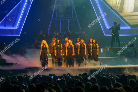 Stock Image of Al Pitrelli, Andrew Ross, Angus Clark, April Berry, Asha Mevlana, Ashley Hollister, Blas Elias, Bryan Hicks. Al Pitrelli, Andrew Ross, Angus Clark, April Berry, Asha Mevlana, Ashley Hollister, Blas Elias and Bryan Hicks with Trans-Siberian Orchestra performs at the Infinite Energy Center, in Atlanta