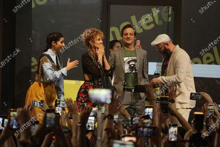 Alba Flores, Esther Acebo, Rodrigo de la Serna and Darko Peric attend a press conference for the TV Show 'La casa de papel' at CCXP19