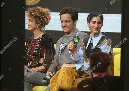 Esther Acebo, Rodrigo de la Serna and Alba Flores attend a press conference for the TV Show 'La casa de papel' at CCXP19