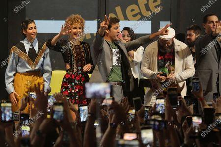 Alba Flores, Esther Acebo, Rodrigo de la Serna, Darko Peric and Pedro Alonso attend a press conference for the TV Show 'La casa de papel' at CCXP19