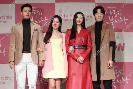 Stock Picture of The stars of the new drama 'Crash Landing on You',  Hyun Bin, Son Ye-jin, Seo Ji-hye and Kim Jung-hyun, pose for a photograph during a showcase in Seoul, South Korea, 09 December 2019. The romantic comedy is slated to premiere on cable channel tvN on 14 December.