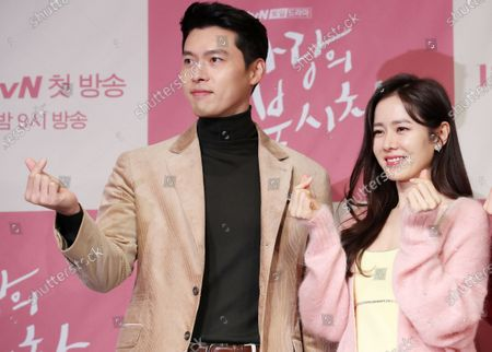 Hyun Bin and actress Son Ye-jin, who star in the new drama 'Crash Landing on You' pose during a showcase in Seoul, South Korea, 09 December 2019.