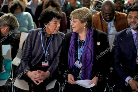 Spanish Education Minister Isabel Celaa (L) chats with UN High Commissioner for Human Rights, Chilean Michelle Bachelet as they attend the event 'We Dare: Children and Youth vs. Climate Change' in the framework of the COP25 UN Climate Change Conference in Madrid, Spain, 09 December 2019. The summit runs in Spanish capital until next 13 December.