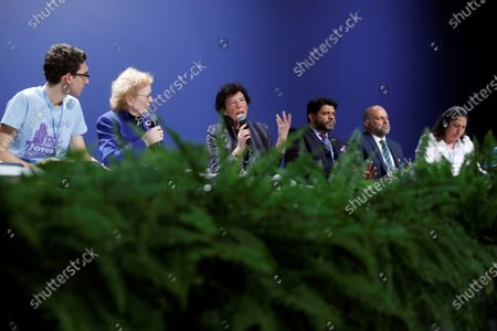 Stock Photo of Spanish Education Minister Isabel Celaa (3-L) delivers a speech duirng the event 'We Dare: Children and Youth vs. Climate Change' in the framework of the COP25 UN Climate Change Conference in Madrid, Spain, 09 December 2019. The summit runs in Spanish capital until next 13 December.