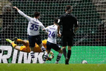 David Nugent of Preston North End scores the 2nd goal