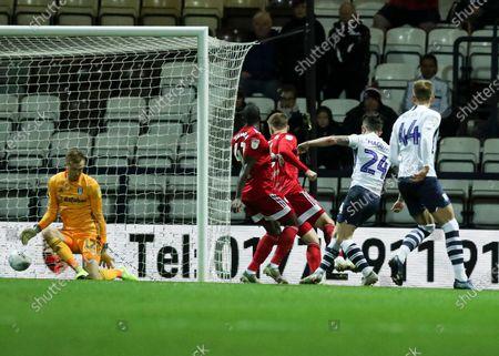 Sean Maguire of Preston North End scores the 1st goal