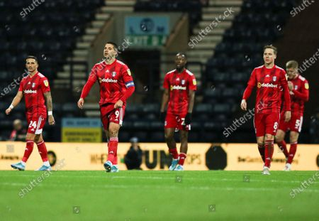 Aleksander Mitrovic of Fulham looks dejected after Sean Maguire of Preston North End scored the 1st goal