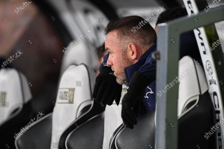 11th December 2019, Pride Park Stadium, Derby, England; Sky Bet Championship, Derby County v Sheffield Wednesday : Derby County Player-Coach Wayne Rooney watching the game from the dugouts