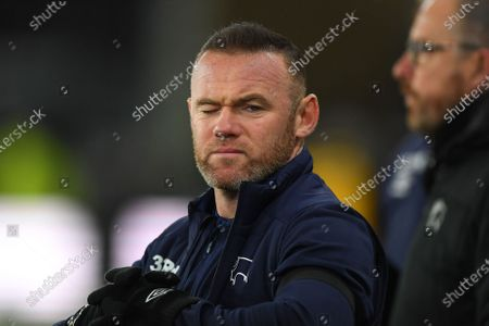 11th December 2019, Pride Park Stadium, Derby, England; Sky Bet Championship, Derby County v Sheffield Wednesday : Derby County Player-Coach Wayne Rooney winks