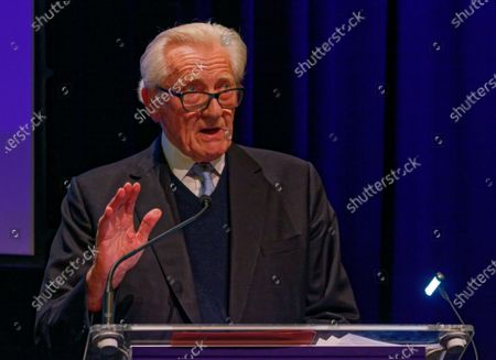 Stock Image of The Rt Hon The Michael Heseltine, Conservative politician and former cabinet minister during a rally at the Mermaid Theatre to encourage tactical voting in the upcoming general election and demand a public vote on the outcome of Brexit on 06 December, 2019 in London, England. The rally, organised by the Vote for a Final Say campaign and For our Future's Sake, takes place ahead of the last week of campaigning for the 12 December General Election.