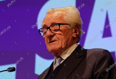 Stock Photo of The Rt Hon The Michael Heseltine, Conservative politician and former cabinet minister during a rally at the Mermaid Theatre to encourage tactical voting in the upcoming general election and demand a public vote on the outcome of Brexit on 06 December, 2019 in London, England. The rally, organised by the Vote for a Final Say campaign and For our Future's Sake, takes place ahead of the last week of campaigning for the 12 December General Election.