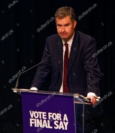 The Rt Hon David Gauke, formerly Conservative and now Independent politician during a rally at the Mermaid Theatre to encourage tactical voting in the upcoming general election and demand a public vote on the outcome of Brexit on 06 December, 2019 in London, England. The rally, organised by the Vote for a Final Say campaign and For our Future's Sake, takes place ahead of the last week of campaigning for the 12 December General Election.