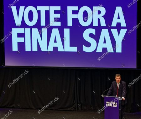 Stock Picture of The Rt Hon David Gauke, formerly Conservative and now Independent politician during a rally at the Mermaid Theatre to encourage tactical voting in the upcoming general election and demand a public vote on the outcome of Brexit on 06 December, 2019 in London, England. The rally, organised by the Vote for a Final Say campaign and For our Future's Sake, takes place ahead of the last week of campaigning for the 12 December General Election.