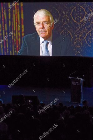 The Rt Hon Sir John Major, former Conservative Prime Minister video message during a rally at the Mermaid Theatre to encourage tactical voting in the upcoming general election and demand a public vote on the outcome of Brexit on 06 December, 2019 in London, England. The rally, organised by the Vote for a Final Say campaign and For our Future's Sake, takes place ahead of the last week of campaigning for the 12 December General Election.