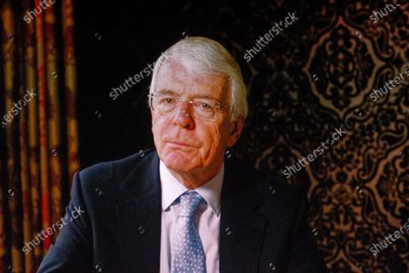 Stock Image of The Rt Hon Sir John Major, former Conservative Prime Minister video message during a rally at the Mermaid Theatre to encourage tactical voting in the upcoming general election and demand a public vote on the outcome of Brexit on 06 December, 2019 in London, England. The rally, organised by the Vote for a Final Say campaign and For our Future's Sake, takes place ahead of the last week of campaigning for the 12 December General Election.