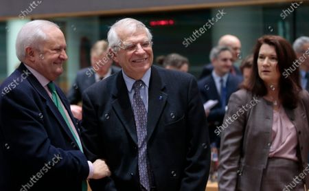 (L-R) Spanish State Secretary for Foreign Affairs Fernando Valenzuela Marzo, European High Representative of the Union for Foreign Affairs Josep Borrell and Swedish Foreign Minister Ann Linde at the start of an EU Foreign Affairs Council (FAC) in Brussels, Belgium, 09 December 2019. European High Representative of the Union for Foreign Affairs, Spanish, Josep Borrell is chairing his first Foreign Affairs Ministers meeting.