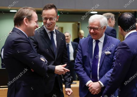 (L-R) European Commissioner in charge of neighborhood and enlargement policy, Hungarian Olivrer Varhelyi; Hungarian Minister of Foreign Affairs and Trade Peter Szijjarto and Polish Foreign Minister Jacek Czaputowicz at the start of an EU Foreign Affairs Council (FAC) in Brussels, Belgium, 09 December 2019. European High Representative of the Union for Foreign Affairs, Spanish, Josep Borrell is chairing his first Foreign Affairs Ministers meeting.