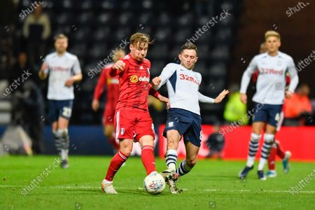 10th December 2019, Deepdale, Preston, England; Sky Bet Championship, Preston North End v Fulham : Alan Browne (8) of Preston North End challenges Stefan Johansen (8) of Fulham for the ball