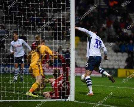10th December 2019, Deepdale, Preston, England; Sky Bet Championship, Preston North End v Fulham : David Nugent (35) of Preston North End scores a goal to make the score 2-0Credit: Simon Whitehead/News Images