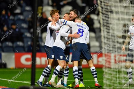 10th December 2019, Deepdale, Preston, England; Sky Bet Championship, Preston North End v Fulham : The Preston North End players celebrate with David Nugent (35) after his goal makes the score 2-0Credit: Simon Whitehead/News Images