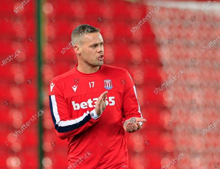 10th December 2019, Bet365 Stadium, Stoke-on-Trent, England; Sky Bet Championship, Stoke City v Luton Town : Ryan Shawcross (17) of Stoke City warms up for the game