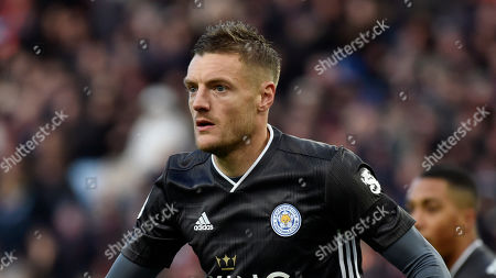 Leicester's Jamie Vardy during the English Premier League soccer match between Aston Villa and Leicester City at Villa Park in Birmingham, England